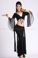 Belly Dancing Ruffled Cotton 2013 hot sell new sexy style belly dance mesh top+tassle tribal pants 2pcs women stage costume