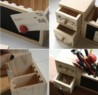 Wholesale Double drawer retro pattern Pencil Pen holder Creative blackboard