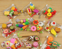 Wholesale 2015 cartoon eraser Korea creative stationery student prizes Simulation food pack set in good quality