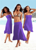 Wholesale 11 colors Beach Cover up Dress Sexy Wear Swimsuit Wrapped Chest dress for lady S XL