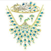 Sumptuous Peacock Blue Crystal Rhinestones Wedding Bridal Je...