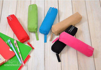 Wholesale 12pcs six colors per Practical color canvas pocket pen bag pencil bags for students free s