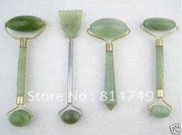 Wholesale 4PC green jade massage head neck face foot roller tool