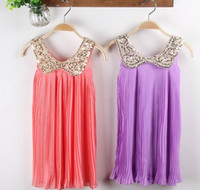 2T-3T baby doll light - 2013 Girls Dresses Fresh Chiffon Pleated Skirts Sequined Baby Doll Collar Dress Children s Clothing