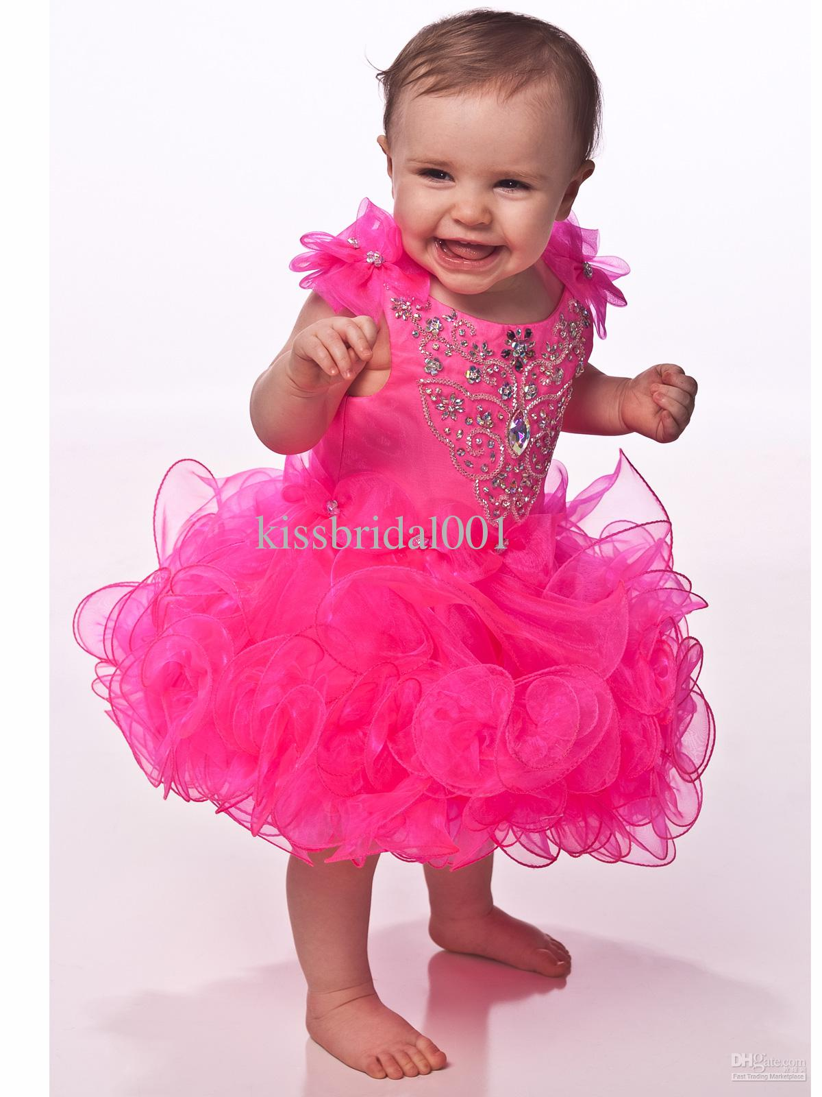 Bow Jewel Organza Ruffle Sparkly Crystal Ball Gown Bright Pink ...
