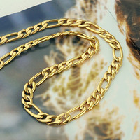 Wholesale Classic men s k yellow solid gold GF necklace chain inch
