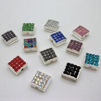 Wholesale 100pcs Shamballa Pave Rhinestone Crystal mixed Square Beads x10mm