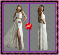 Sheath/Column Chiffon Sexy 2013 Shiny Beads Sequins Vintage White Grecian One Shoulde Side Slit Prom Wedding Evening Dresses