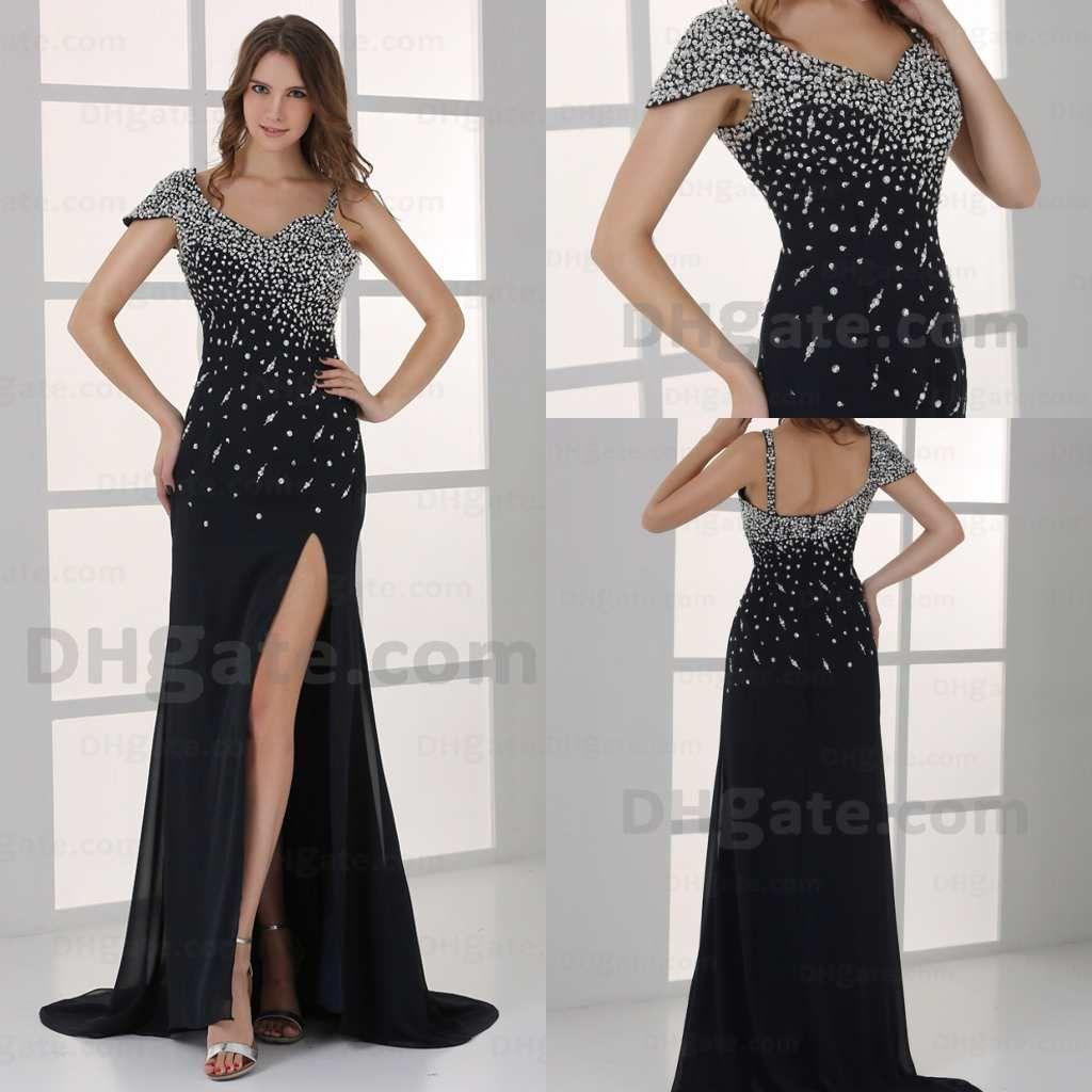 2014 Modern Black Beaded Sequins Split Mermaid Long Prom Dresses ...