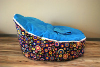 Wholesale Free shpping baby beanbag Rainbow circle base blue top baby bean bag baby chair