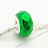 Wholesale European bead resin Green Round multifaceted Pattern Fashion fit Bracelets Pattern charms Big Hole beads Pandora jewelry mm