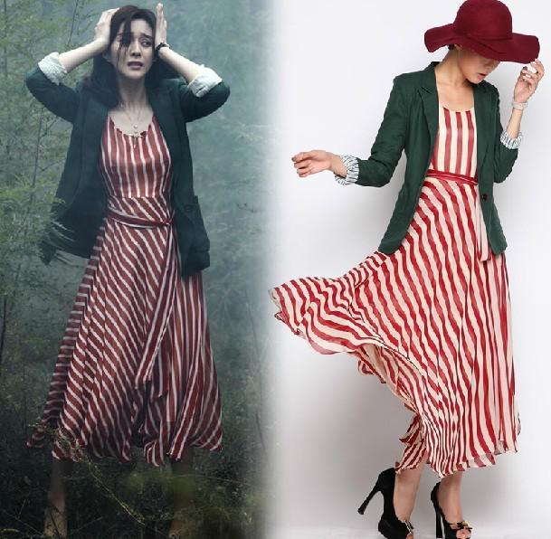 Womens Dresses Ladies Stripe Vest Maxi Dress Party Dress Evening ...