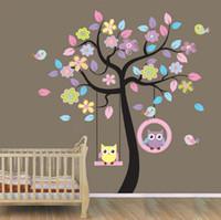 Wholesale Owl on Swing Birds Flowers Tree Wall Art Decor Decals Kids Baby Room Wallpaper