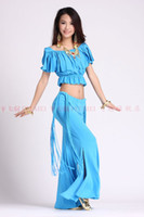 Women Belly Dancing Cotton 2013 hot sell new sexy style belly dance tassels top+tassel tribal pants 2pcs women stage costume