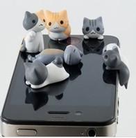 al por mayor enchufe del polvo del gato para el teléfono-3.5mm del queso del gato del queso de la historieta de los enchufes lindos del enchufe de los casquillos del oído del teléfono móvil de la historieta del enchufe del iphone 4g 4s de Stofor del enchufe del auricular del polvo de los oídos del gato