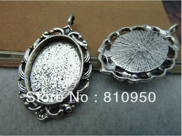 Wholesale 27 MM Inner mm Alloy Metal Antique Silver Blank Pad Tray Pendant Base Necklace Base Cameo Se