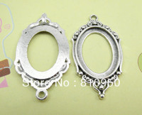 Spacers antique metal trays - 24 mm Inner mm Alloy Metal Antique Silver Blank Pad Tray Pendant Base Necklace Base Cameo Se