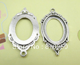 24*42mm Inner:18*25mm Alloy Metal Antique Silver Blank Pad Tray Pendant Base ,Necklace Base Cameo Se