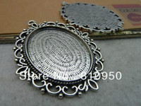 Wholesale 20PCS inner mm Alloy Metal Antique Silver Lace Pad Tray Pendant Blank Pendant Bases Cameo
