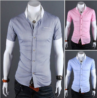 Wholesale 2013 Men s Short Sleeve Shirts Cotton Lapel Mens Shirt Slim Dress Shirts