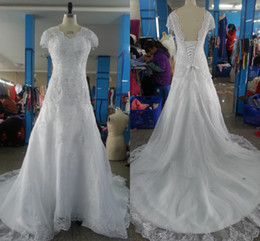 Real Picture Custom Made White V-neck Cap Sleeve Lace Applique Tulle Cathedral Train Wedding Dress