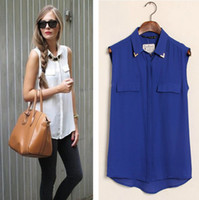 Chiffon AS PICTURE L EURO STYLE CANDY COLORS TURN DOWN COLLAR WITH RIVET SLEEVELESS CHIFFON BLOUSE FAKE POCKET BLOUSE