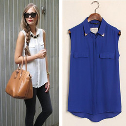 Wholesale new arrivals EURO STYLE CANDY COLORS TURN DOWN COLLAR WITH RIVET SLEEVELESS CHIFFON BLOUSE FAKE POCKET WOMEN BLOUSE