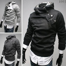 Wholesale New Korean men fur Sweatershirt collar diagonal zipper court buckle fleece hooded sweatershirts L18