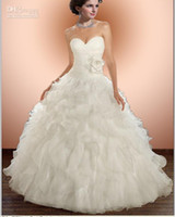 Wholesale New White Wedding Dress Brush Train Sweetheart Organza Bride Ball Gown Wedding Dresses Wedding Bridal Gowns