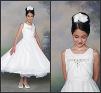 Model Pictures Girl Beads Tea Length A Line China Beaded Jewel Neck Girls Pageant Dresses White Girl's Formal Occasion Gowns