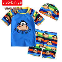 Small 2T-3T 3-piece set Children's Swimwear Boy Sunsreen Fabric SPF50+ Swim Suit Cartoon Monkey 3-piece swimwear Set 1292