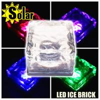 Wholesale Waterproof Color Solar Crystal Brick Changing Solar Led Ice Brick Ground Light Garden Path Lamp