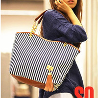 Wholesale holiday sale bags Handbags fashion women Stripe Street Snap Candid Tote Canvas Shoulder Bag W1262