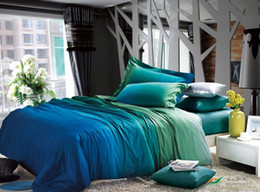 Wholesale Green blue egyptian cotton comforter bedding set king size queen duvet cover bedspread bed in a bag sheet bedsheet quilt linen bedclothes