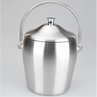 Wholesale Drum Ice Bucket Double stainless steel Tonneau Straight Wine Rack Buckets Barware