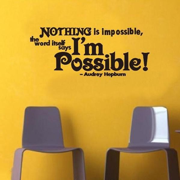 Audrey Hepburn Saying NOTHING IS IMPOSSIBLE Inspiration Quote Wall