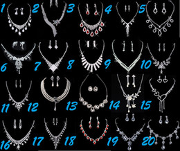 Wholesale 10set Gorgeous Crystals Silver Beautiful Earrings Necklace Wedding Jewelry Set Bridal Accessories