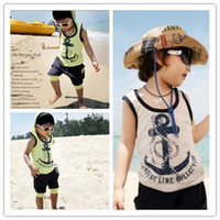 Boy Summer 3-8years old 5Set Children boy's Children's clothing 2013 summer child baby vest set anchor set i