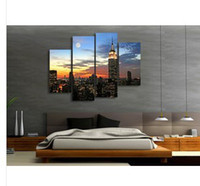 Abstract   New York Under Moonlight Modern Wall Art On Quality Canvas Print Set Of 4 FRAMED