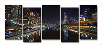 Abstract   Yarra River Melbourne City At Night Modern Wall Art On Canvas Prints Set Of 5