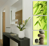 Abstract   Zen Garden Bamboo Modern Wall Art WIth Clock Canvas Print 3 Panel Set FRAMED