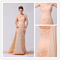 Wholesale 2013 Sexy One Shoulder Chiffon Champange Bridesmaid Dress Ruffles Foral Prom Dresses DH4076