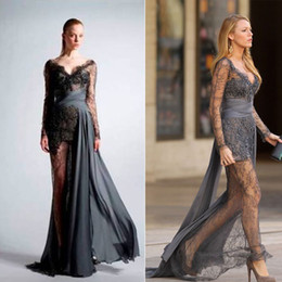 Wholesale 2015 Sexy Gossip Girl Blake Grey Zuhair Murad Long Sleeve See through Lace Dress Prom Dresses Celebrity Red Carpet Dress Evening Gowns