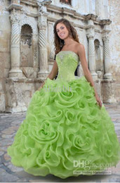 Wholesale 2013 New Sexy Sweetheart Lime Green Organza Ruffles Lace Up Quinceanera Dresses Gowns