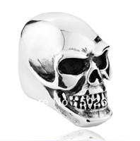 Wholesale high quality men s smooth jewelry huge amp heavy skull ring in L stainless steel for mens