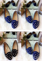 Wholesale New Women s Punk Sexy Unique Spike Studded Loafers Flats Point Rivets Shoe j4