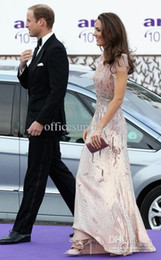 Wholesale Skin pink Kate Middleton in Jenny Packham cap sleeved evening dress gown with beading