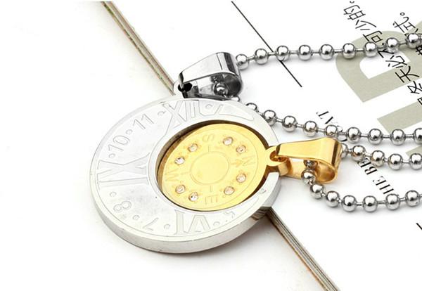 Collier Lune et Soleil titane acier Pendentif Colliers Bijoux Cadeau de détail Couple amoureux