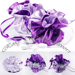 Wholesale Purple Both Side Wedding Candy Satin Pouch Bags party gift favors boxes bags