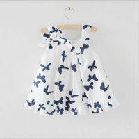 Wholesale HOT SELL Girl Dresses Sleeveless Printed Butterfly Cotton Dresses Slip Dress